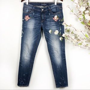 Driftwood Sundance Floral Embroidered Skinny Jeans